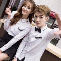 新款情侣装春夏季衬衫男女韩版修身长袖白衬衣口袋撞色休闲衬衣班