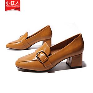 【活动中】小红人高跟鞋女春季2019新款女鞋粗跟单鞋女方头鞋女奶奶鞋一脚蹬 PU