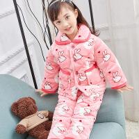 冬季儿童睡衣法兰绒三层加厚夹棉 男女童大童宝宝珊瑚绒套装