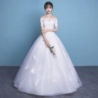 一字肩轻婚纱礼服2018新款短款小个子新娘结婚中长款公主宫廷梦幻 一字肩 长款