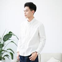 听风 春季日系纯棉文艺白衬衫男士 复古简约打底衬衣长袖青少年潮