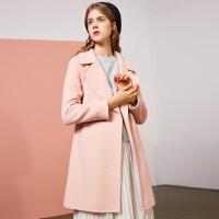 【满300减30】韩版双面呢外套女冬季新款羊毛中长款长袖双排扣毛呢大衣女潮