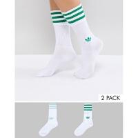 adidas女士绿条纹三叶草2双装中长筒袜 潮人运动休闲百搭高帮袜子