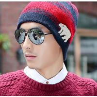 秋冬天保暖时尚动物撞色毛线帽韩版男士冬季针织帽子 男