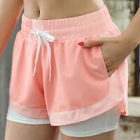 运动短裤女假两件防走光跑步健身裤速干显瘦休闲短裤