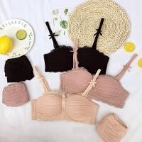 2018春季新品粉色蕾丝边性感内衣女无钢圈文胸套装1/2半杯小胸罩
