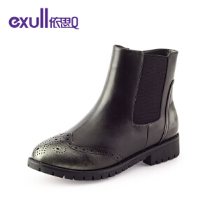 依思q冬季新款舒适复古圆头粗跟中跟短靴侧拉链女靴