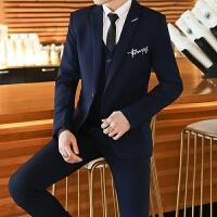 新品18四季男士韩版修身潮流绣花西服套装青年男式免烫休闲西装三