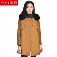 羊毛呢子大衣狐狸毛厚外套单排扣长袖2018冬季新款女装A字版1239