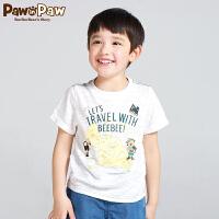 【3件3折 到手价:89】Pawinpaw卡通小熊童装秋男童圆领印花短袖T恤中大童休闲