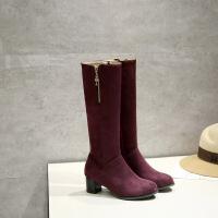 彼艾秋冬新款女鞋粗跟中长靴高跟磨砂皮长筒冬季侧拉链高筒靴女靴子