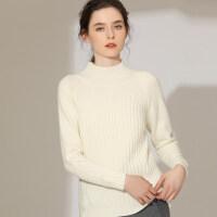 加厚羊绒衫女半高领色套头毛衣秋冬紫色针织短款打底衫
