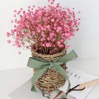 勿忘我满天星含花瓶真花云南干花花束客厅家居摆设北欧简约风格 干树枝