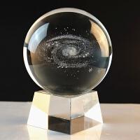 音乐盒 仿水晶球摆件内雕银河系月亮星际玫瑰花生日礼物可照片定制