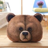 3D小熊兔子抱枕靠枕毛绒玩具狗熊腰靠椅垫卡通午睡枕新年礼物 50*40厘米大约