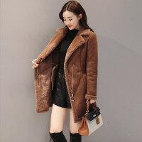 鹿皮绒女2018冬季韩版百搭中长款加绒加厚仿羊羔毛棉衣外套