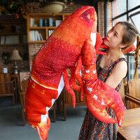 龙虾公仔创意抱枕皮皮虾毛绒玩具礼物儿童睡觉抱枕长条枕
