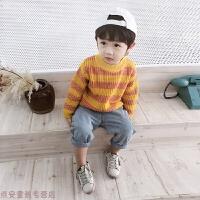 冬季童装宝宝毛衣男卡通男童秋冬针织衫儿童条纹长袖套头线衫秋冬新款 橙黄条纹