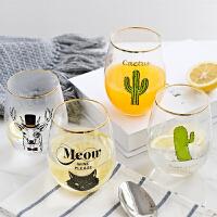 创意玻璃水杯家居早餐杯牛奶果汁杯子餐桌办公室桌面摆件