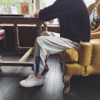 春装男士束脚休闲裤韩版潮流裤子男宽松情侣条纹小脚收口运动裤