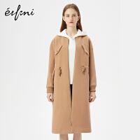 伊芙丽冬装新款韩版外套长款过膝呢子大衣羊毛宽松毛呢外套女