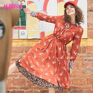 【低至1折起】妖精的口袋秋季裙子2018新款端庄大气碎花休闲长袖气质连衣裙女