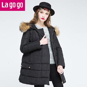 Lagogo拉谷谷2016年冬季新款时尚拉链毛领连帽羽绒服
