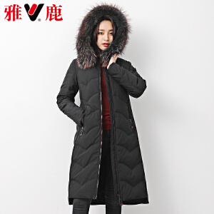 【一件三折 到手价:629.7】yaloo/雅鹿貉子大毛领 冬季长款保暖鸭绒羽绒服90绒女装 撞色毛领