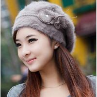 秋冬天两朵花毛线 加厚针织帽 贝雷帽 女 韩版 潮 女士兔毛帽子