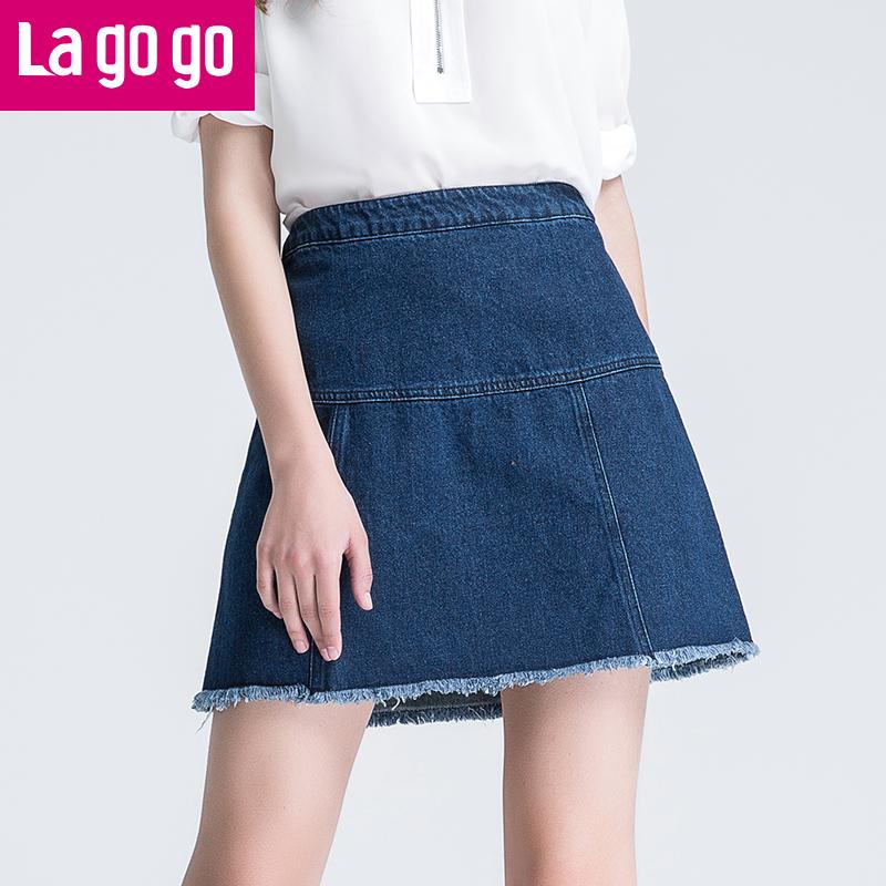 Lagogo2017夏装新款高腰牛仔半裙纯色短裙子牛仔裙女流苏a字裙