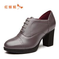红蜻蜓女鞋2018秋季新品牛皮英伦风雕花系带粗高跟女鞋布洛克鞋