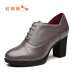 红蜻蜓女鞋秋冬休闲鞋鞋子女高跟鞋WDB7492