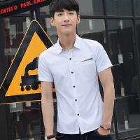 新款2018男士T恤夏季夏季青年韩版短袖衬衫男士修身男装纯色潮流