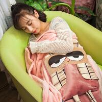 情侣多用车内车上抱枕被子两用加绒靠垫卡通加厚保暖毛毯被子 中号展开110*150
