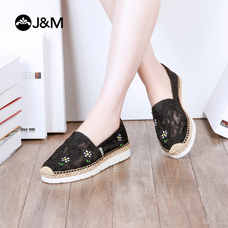 jm快乐玛丽夏季新款小清新平底松糕鞋厚底蕾丝帆布鞋渔夫鞋女