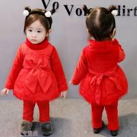 冬季女童冬季长袖两件套装女宝宝冬天加绒小孩子衣服1 2 3岁周半4保暖秋冬新款