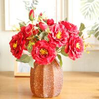 仿真花艺玫瑰花雪花玻璃花瓶摆件绢布花家居饰品餐桌花艺