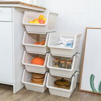 厨房置物架 厨房可叠加收纳篮蔬果收纳筐浴室落地整理筐玩具收纳筐