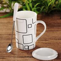 马克杯带盖勺个性咖啡杯喝水茶杯陶瓷杯子简约情侣水杯