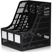 三栏文件框 得力9847筐桌面资料架办公室桌上书框简易塑料整理