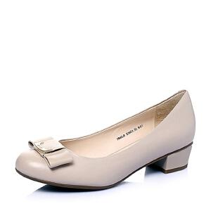 Belle/百丽春季专柜同款胎牛皮浅口女单鞋3B6L8AQ6