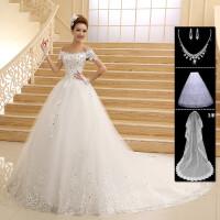 婚纱礼服2018新款公主韩式孕妇显瘦一字肩长拖尾新娘结婚大码女钻