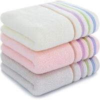 三利 纯棉素色良品彩缎毛巾3条装 100克/条 独立包装 柔软吸水洗脸面巾