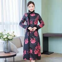 中国风改良时装版旗袍女中长款冬装加厚年会礼服复古民国唐装外套 图片色