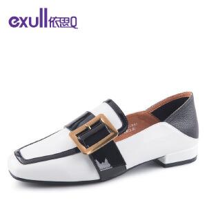 依思q时尚街头方头皮带扣单鞋粗跟低跟女鞋