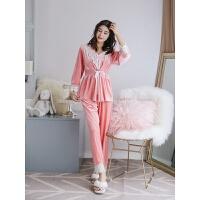 潮牌秋珊瑚绒睡衣女性感长袖金丝绒甜美睡袍可爱家居服套装