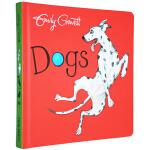 英文原版绘本 Dogs 纸板书 格林威奖作家 Emily Gravett 吴敏兰推荐 同场加映