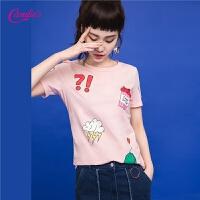 2017夏季新款软妹衣服短袖上衣女式时尚 韩版 潮 趣味印花T恤女士30072513