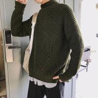 冬季原宿风男士半高领毛衣韩版潮流学生bf宽松粗线纯色加厚针织衫
