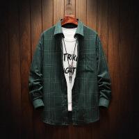 新款韩版格子长袖男衬衫格子潮流帅气青少年学生休闲衬衣男寸衣